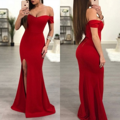 Elegant Red Off-the-Shoulder Prom Dress   2020 Mermaid Sweetheart Evening Gowns_4