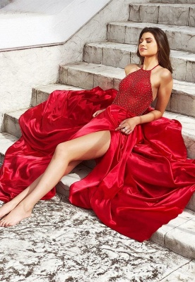 Modest Halter Front Split A-Line Sleeveless Evening Dress   Red Beadings 2020 Prom Gown On Sale_2