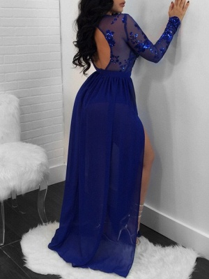 Modern Long Sleeve Lace Front Split Prom Dress | Royal Blue Prom Dress BA9080_3