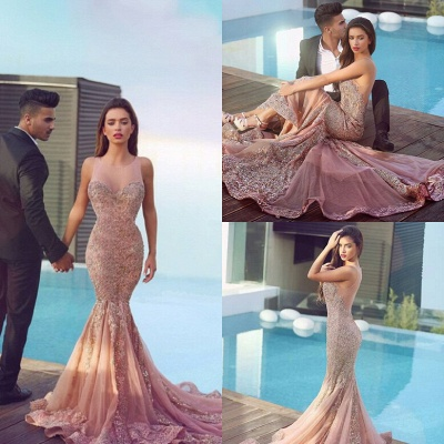 Luxurious Sleeveless Sequins Mermaid Evening Dress 2020 Tulle Lace Appliques MH100_5