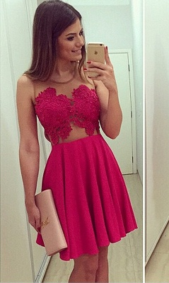 Sexy Sleeveless Short Chiffon Homecoming Dress With Lace Appliques BA1561_3