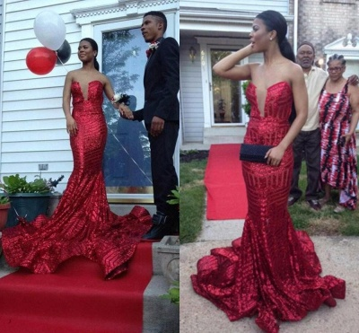 Sexy Sequined Sleeveless Bodycon Prom Dress | Red Prom Dress BK0_3