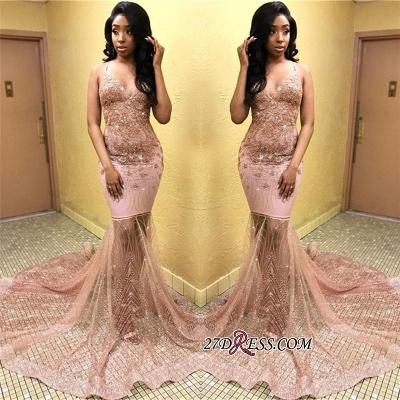 Sexy Spaghetti Straps Mermaid Prom Dresses | Sleeveless Tulle Appliques Evening Dresses bk0_1