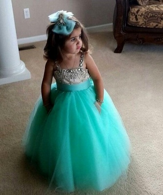 Lovely Strapless Sleeveless Tulle Flower Girl Dress With Crystals_1