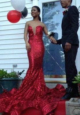 Sexy Sequined Sleeveless Bodycon Prom Dress | Red Prom Dress BK0_1