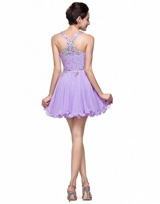 Gorgeous Halter Sleeveless Homecoming Dress 2020 Short Tulle With Crystals_2