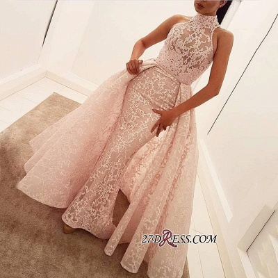 Popular Illusion Sleeveless High-Neck Unique Lace Sheath Puffy Overskirt Prom Dress jj0157_2