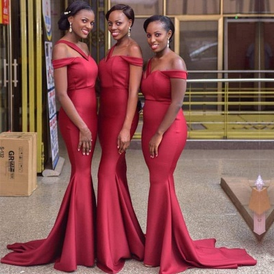 Gorgeous Off-the-Shoulder Red Bridesmaid Dress | 2020 Mermaid Long Maid of Honor Dress_3