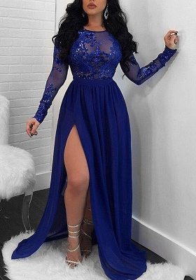 Modern Long Sleeve Lace Front Split Prom Dress | Royal Blue Prom Dress BA9080_1