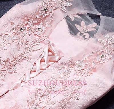 A-Line Lace Pink Sleeveless Appliques Homecoming Dress_1