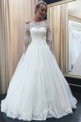 Chic Off-the-Shoulder Long Sleeve 2020 Wedding Dress Tulle Lace Bridal Gowns_1