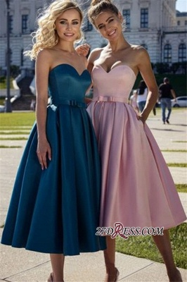 Strapless A-line Sweetheart Bow Belted Marvelous Prom Dresses_2