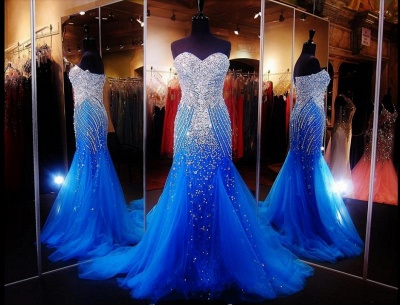 Luxurious Sweetheart Sleeveless Tulle Prom Dress With Beadings Crystals_2