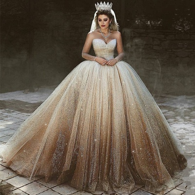 Luxurious Sweetheart Long Sleeve Wedding Dresses | 2020 Ball Gown Sequins Tulle Bridal Wears_2