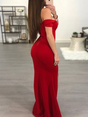 Elegant Red Off-the-Shoulder Prom Dress   2020 Mermaid Sweetheart Evening Gowns_3