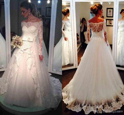 Long-Sleeve Tulle Off-the-shoulder Lace Bow Elegant Wedding Dress_3