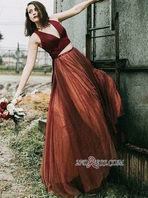 V-neck A-line Two-Pieces Excellent Sleeveless Prom Dresses_2