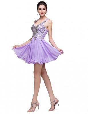 Gorgeous Halter Sleeveless Homecoming Dress 2020 Short Tulle With Crystals_4