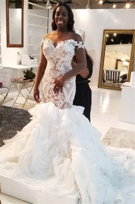 Mermaid Lace Appliques Tulle Wedding Dress Delicate Bridal Gowns_1