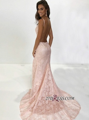 Sexy Pink Lace Mermaid Prom Dresses | Spaghetti-Straps Backless Evening Gowns BC1700_1