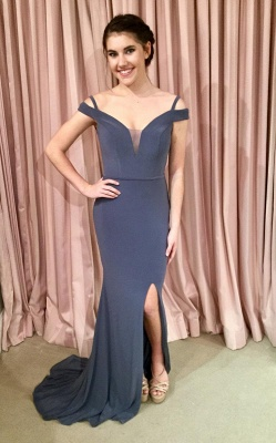 Off-the-shoulder mermaid prom dress, 2020 lace-up evening dress_1