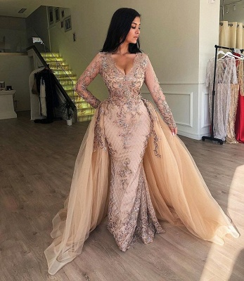 Chic V-Neck Long Sleeve Evening Dresses | 2020 Mermaid Ruffles Appliques Prom Gowns BC0179_3