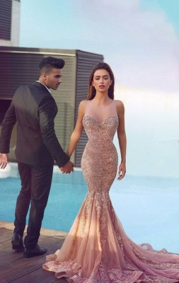 Luxurious Sleeveless Sequins Mermaid Evening Dress 2020 Tulle Lace Appliques MH100_2