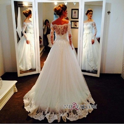 Long-Sleeve Tulle Off-the-shoulder Lace Bow Elegant Wedding Dress_2