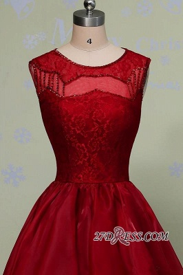 2020 Glamorous Sleeveless Sequins Lace Red Hi-Lo Prom Dress_2