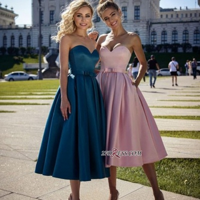 Strapless A-line Sweetheart Bow Belted Marvelous Prom Dresses_1
