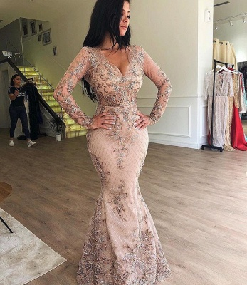 Chic V-Neck Long Sleeve Evening Dresses | 2020 Mermaid Ruffles Appliques Prom Gowns BC0179_2