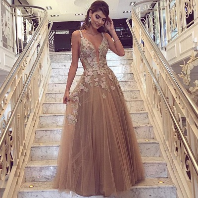 Gorgeous Sleeveless 2020 Evening Dress Tulle Long On Sale Lace Appliques_3