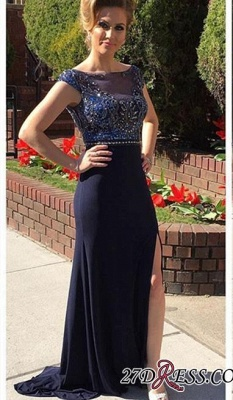 2020 Illusion Front-Split Crystals Newest A-line Cap-Sleeve Prom Dress_2