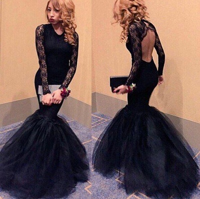 Sexy Black Lace Long Sleeve Prom Dresses 2020 Mermaid Open Back Evening Party Gowns BK0_3