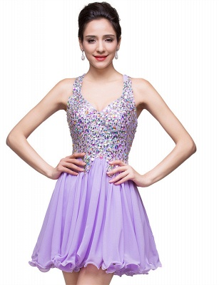 Gorgeous Halter Sleeveless Homecoming Dress 2020 Short Tulle With Crystals_1