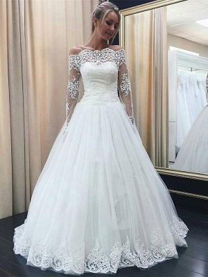Chic Off-the-Shoulder Long Sleeve 2020 Wedding Dress Tulle Lace Bridal Gowns_3
