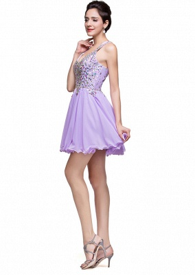 Gorgeous Halter Sleeveless Homecoming Dress 2020 Short Tulle With Crystals_3