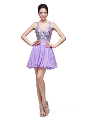 Gorgeous Halter Sleeveless Homecoming Dress 2020 Short Tulle With Crystals_5