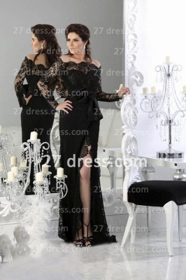 Black Sexy Lace Arabic Prom Dress 2020 Long Sleeve Sheath Split Evening Gowns_1