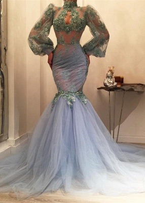 Gorgeous Long Sleeve Mermaid Prom Dresses | 2020 Tulle Evening Gowns On Sale_1