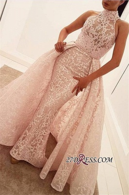 Popular Illusion Sleeveless High-Neck Unique Lace Sheath Puffy Overskirt Prom Dress jj0157_3