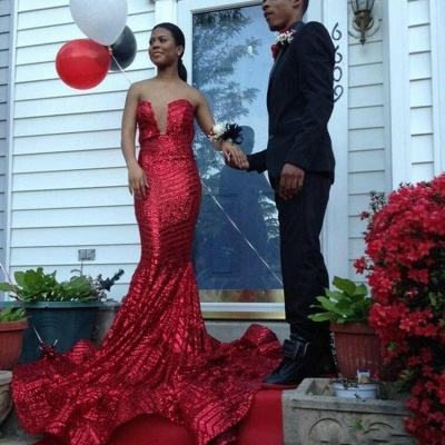 Sexy Sequined Sleeveless Bodycon Prom Dress | Red Prom Dress BK0_4