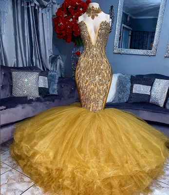 Stunning Yellow Crystal Prom Dresses | 2020 Mermaid Tulle Long Evening Party Dress BC1626_2