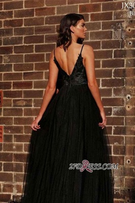 V-back Applique Black A-line Spaghetti-strap Floor-length Ruffles Side-slit Prom Dress_2
