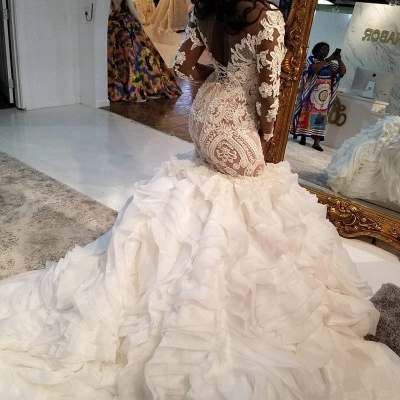 Mermaid Lace Appliques Tulle Wedding Dress Delicate Bridal Gowns_3