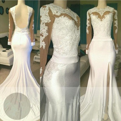 White lace long sleeve prom dress, 2020 evening dress with slit_3