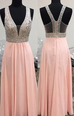 Lovely Pink Halter 2020 Prom Dress Long Chiffon With Beaidngs_1
