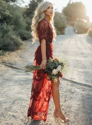 Beautiful Burgundy Evening Dresses | 2020 Short Sleeve Lace Prom Gowns_2