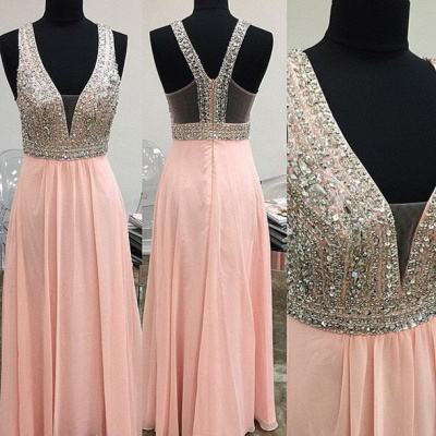 Lovely Pink Halter 2020 Prom Dress Long Chiffon With Beaidngs_2