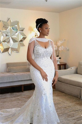 Gorgeous Off Shoulder Beading Appliques Wedding Dress Mermaid Sexy Bridal Dresses_1